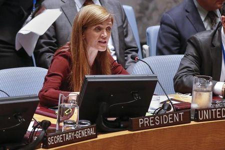 U.S. Ambassador to the U.N. Samantha Power speaks to members of the Security Council during a meeting on the Ebola crisis in New York