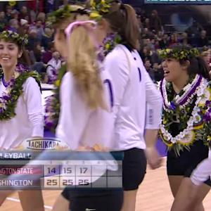 Recap: Washington women's volleyball sweeps Washington State to earn share of Pac-12 title