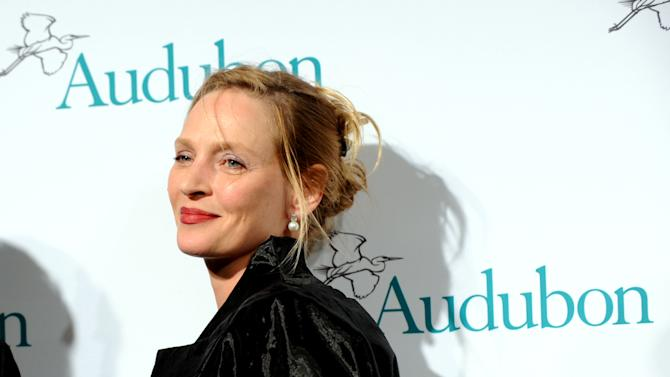 IMAGE DISTRIBUTED FOR THE NATIONAL AUDUBON SOCIETY - Uma Thurman attends The National Audubon Society's first gala to jointly award the Audubon Medal and the inaugural Dan W. Lufkin Prize for Environmental Leadership, Thursday, Jan. 17, 2013, in New York.  (Photo by Diane Bondareff/Invision for The National Audubon Society/AP Images)