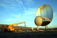 Evening settles on the Allen Telescope Array construction site at Hat Creek in Northern California. Image