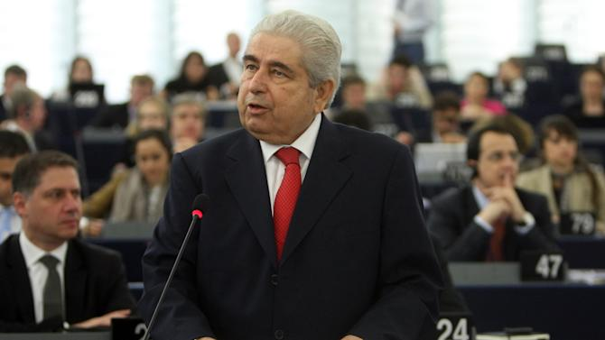 President Demetris Christofias delivers his speech on Cyprus presidency over the next six months, Wednesday, July 4, 2012 at the European Parliament in Strasbourg, eastern France. (AP Photo/Christian Lutz)
