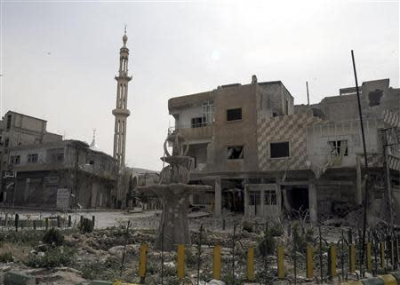 Damaged buildings are seen at Yabroud town at the Damascus countryside