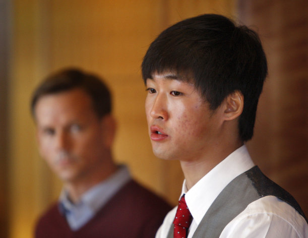 Simon Cho speaks at a news conference on Friday, Oct. 5, 2012, in Salt Lake City. Cho said Friday he agreed to a coach's demand to tamper with a Canadian rival's skates last year after the command was made a third time and in Korean by Jae Su Chun. Cho's comments confirmed several allegations made in the arbitration demand that seeks to permanently remove U.S. coach Chun. Chun has denied any wrongdoing but is suspended. (AP Photo/The Deseret News, Tom Smart)
