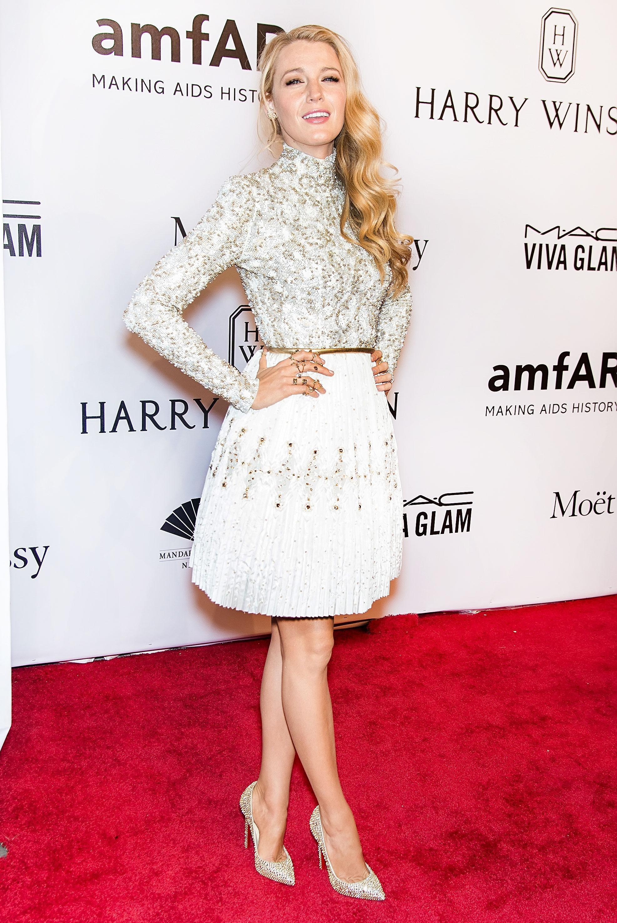 Blake Lively's Golden Shoes Upstage Her Embellished Dress