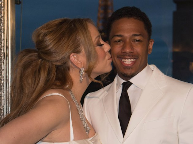 PARIS, FRANCE - APRIL 27:  Mariah Carey and her husband Nick Cannon during the their vows renewal ceremony, photocall on April 27, 2012 in Paris, France.  (Photo by Pascal Le Segretain/Getty Images)