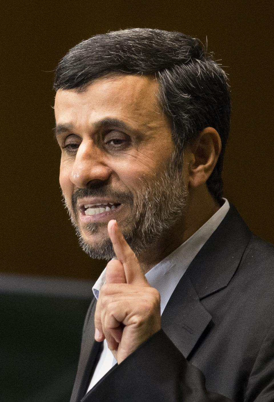 Iranian President Mahmoud Ahmadinejad addresses the 67th United Nations General Assembly, at U.N. headquarters, Wednesday, Sept. 26, 2012. (AP Photo/John Minchillo)