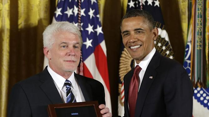 President Barack Obama stands with Ray Kapaun, nephew of Chaplain (Captain) Emil J. Kapaun, U.S. Army, as he awards the Medal of Honor posthumously to Chaplain Kapaun in the East Room of the White House in Washington, Thursday, April 11, 2013. Chaplain Kapaun will receive the Medal of Honor posthumously for his extraordinary heroism while serving with the 3d Battalion, 8th Cavalry Regiment, 1st Cavalry Division during combat operations against an armed enemy at Unsan, Korea and as a prisoner of war from November 1-2, 1950.(AP Photo/Pablo Martinez Monsivais)
