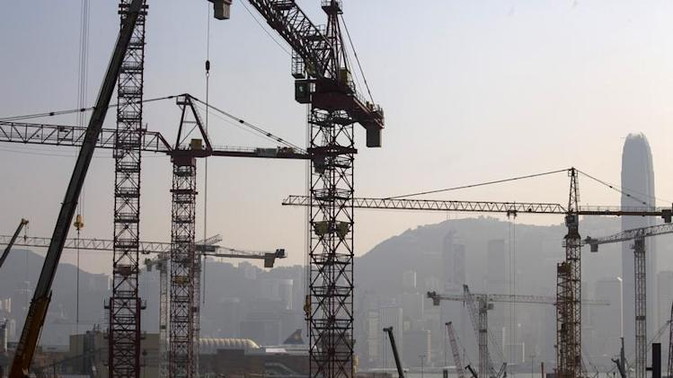 A general view of a construction site for luxury residential apartments at the reclaimed West Kowloon in Hong Kong