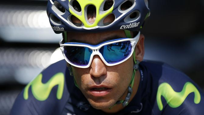 Movistar rider Jose Herrada of Spain prepares to leave for a team training session in Utrecht, Netherlands