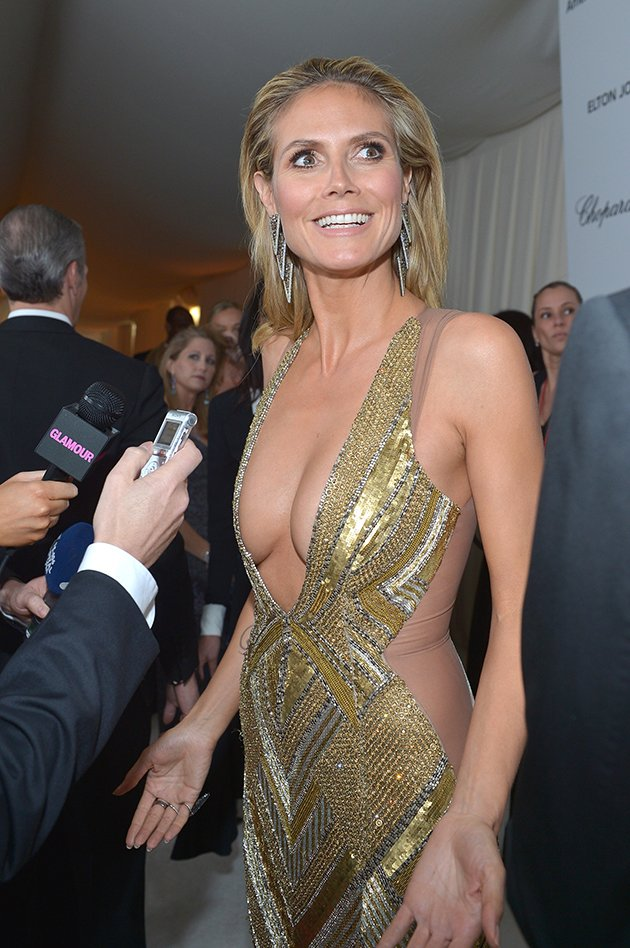 Klum's wardrobe malfunction was the talk of Elton John's Oscars 2013