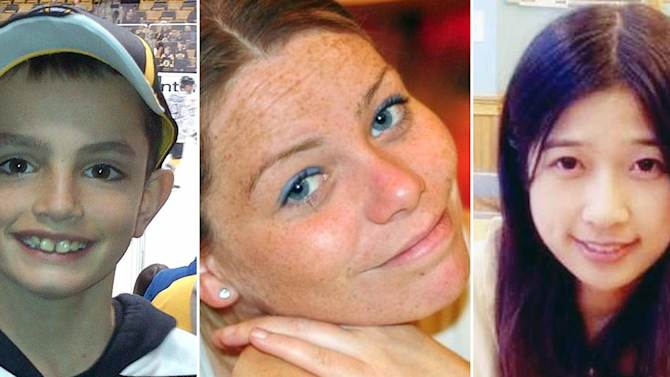 This combination of undated file photos provided to the Associated Press shows, from left, Martin Richard, 8, Krystle Campbell, 29, and Lingzi Lu, a Boston University graduate student. Richard, Campbell and Lu were killed in the explosions at the finish line of the Boston Marathon Monday, April 15, 2013, in Boston. (AP Photo/File)