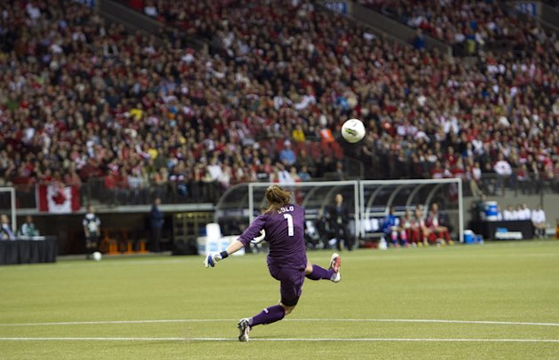 Goalie Hope Solo #1 Of The United States Kicks Getty Images