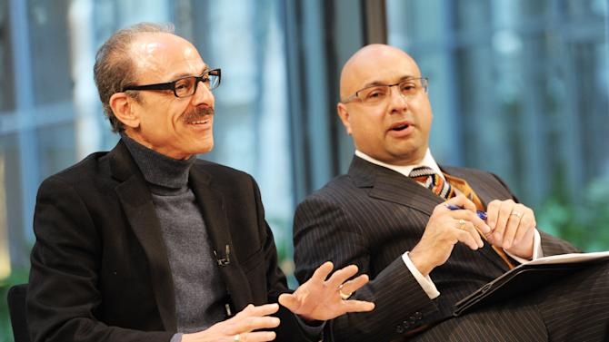 Keith Ayoob, left, and Ali Velshi attend the Food Dialogues: New York on Thursday, Nov. 15, 2012 in New York. (Photo by Evan Agostini/Invision for USFRA/AP Images)