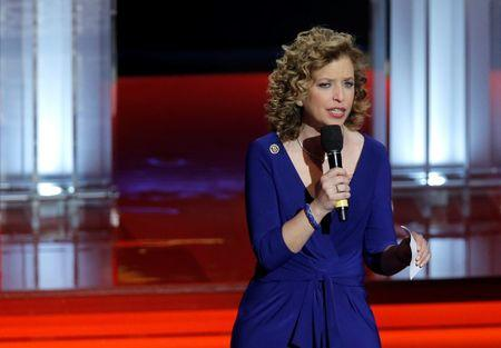 Debbie Wasserman Schultz, chair of the Democratic National Committee, speaks before the start of the Democratic U.S. presidential candidates' debate in Flint