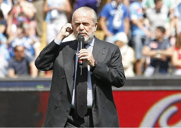 Napoli team president Aurelio De Laurentiis greets fans at the San Paolo Stadium in Naples on May 12, 2013