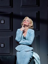 In this April 18, 2012, photo provided by the Metropolitan Opera, Karita Mattila plays the 337-year-old Emilia Marty in Janacek&#39;s &quot;The Makropulos Case&quot; during a rehearsal at the Metropolitan Opera in New York. &quot;The Makropulos Case&quot; returned to the Met on Friday night, April 27, after an 11-year absence. (AP Photo/Metropolitan Opera, Cory Weaver)