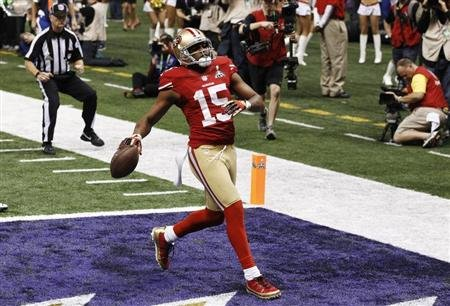 49ers Crabtree scores a touchdown against the Ravens during the NFL Super Bowl XLVII football game in New Orleans