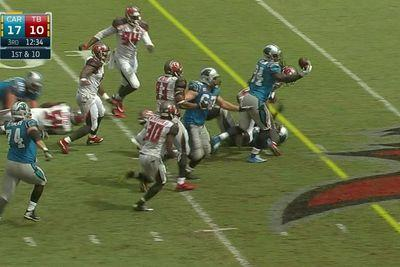 Jonathan Stewart fumbles ball directly into Panthers teammate's hands for 57-yard TD