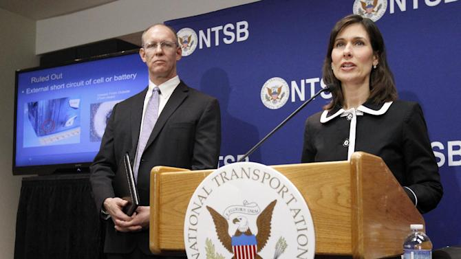 National Transportation Safety Board (NTSB) Chair Deborah Hersman, right, accompanied by John DeLisi, director of NTSB Office of Aviation Safety, speaks during a news conference in Washington, Thursday,  Feb. 7, 2013, to provide an update on the NTSB's investigation into the Jan. 7 fire that occurred on a Japan Airlines Boeing 787 at Logan International Airport in Boston. (AP Photo/Ann Heisenfelt)