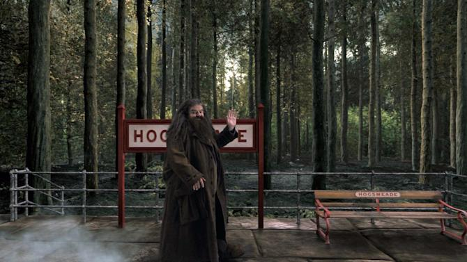 """CORRECTS TO HARRY POTTER - This image released by Universal Orlando shows the character Hagrid from the """"Harry Potter"""" book and film series in a scene from the Hogwarts Express attraction that will debut this summer at Universal Orlando. The attraction will allow fans to ride the Hogwarts Express train and experience the British countryside just as the characters did in the book and movie series. (AP Photo/Universal Orlando)"""