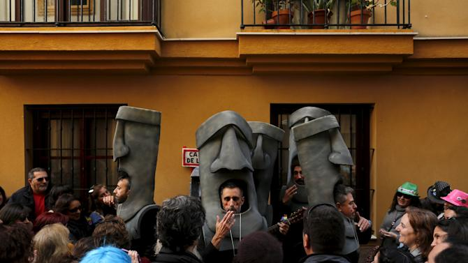 Revellers perform during the Carnival of Cadiz in southern Spain