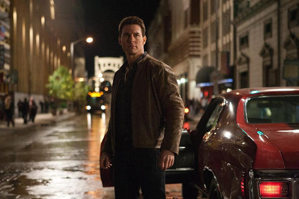 "This film image released by Paramount Pictures shows Tom Cruise in a scene from ""Jack Reacher."" Cruise plays a former military cop investigating a sniper case. (AP Photo/Paramount Pictures)"