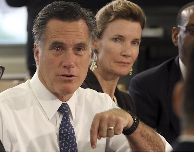 In this photo taken May 24, 2012, Republican presidential candidate, former Massachusetts Gov. Mitt Romney speaks at a school in Philadelphia. When Romney decried Barack Obama as beholden to the natio