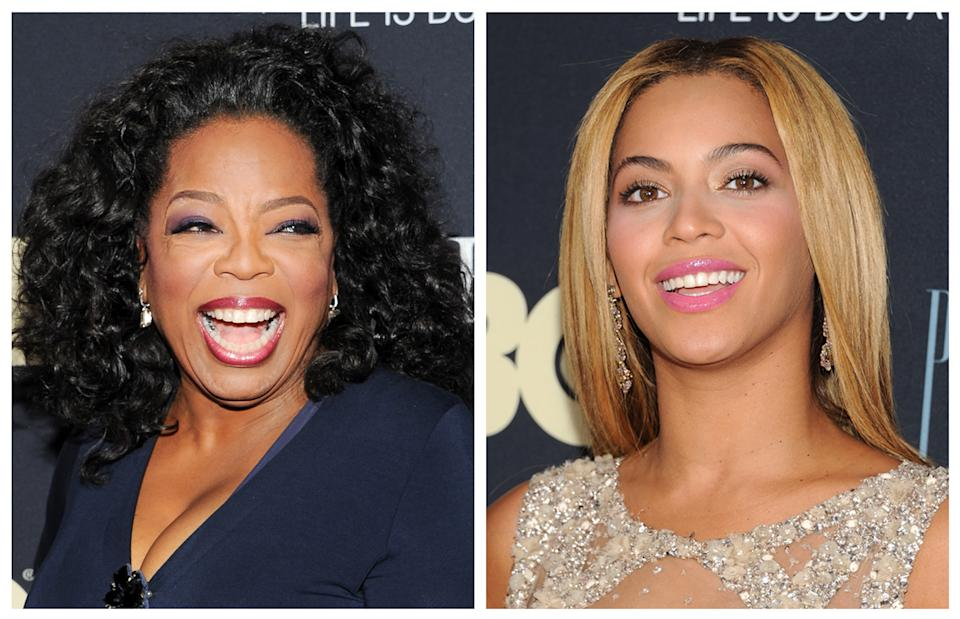 "This photo combo shows Oprah Winfrey, left, and Beyonce Knowles attending the premiere of ""Beyonce: Life Is But A Dream"" at the Ziegfeld Theatre on Tuesday, Feb. 12, 2013, in New York. (Photo by Evan Agostini/Invision/AP)"