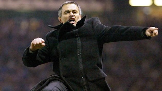 2003-04 Champions League Porto coach Jose Mourinho celebrates goal against Manchester United at Old Trafford