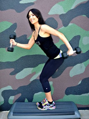 Allie Cohen, celebrity trainer at Barry's Bootcamp, shows how to do