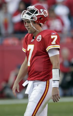 Kansas City Chiefs quarterback Matt Cassel (7) walks off the field at the end of the Chief's final possession during the second half of an NFL football game on Sunday, Nov. 6, 2011, in Kansas City, Mo. The Dolphins won the game 31-3. (AP Photo/Charlie Riedel)