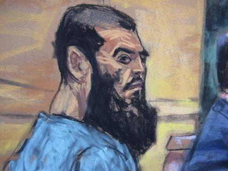 Abid Naseer is seen in a courtroom sketch as he pleads not guilty to terrorism charges in New York