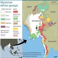 Map showing main ethnic gruops in Myanmar. Surging sectarian violence in western Myanmar has left at least 64 people dead and scores more wounded, a local official says, casting a shadow over the government&#39;s reform drive