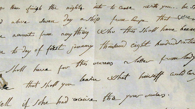 Detail of a March 9, 1816 letter written in English by French emperor Napoleon the 1st is presented Sunday, June 10, 2012 in Fontainebleau, South of Paris, before being auctioned. The letter was sold euro 325 000, ($406 000). (AP Photo/Remy de la Mauviniere)