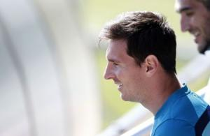 Barcelona's soccer player Lionel Messi attends a training session at Joan Gamper training camp