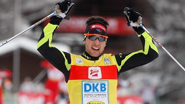 France's Jason Lamy Chappuis reacts after wining the World Cup Nordic combined competition in Seefeld