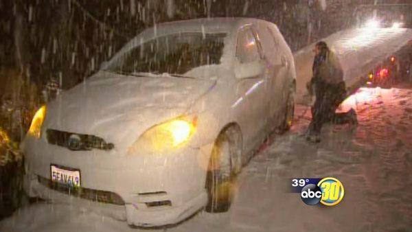 Snow creates dicey driving conditions near Shaver Lake