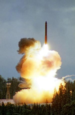 In this 2001 file photo an intercontinental ballistic Topol-M missile blasts off from an undisclosed location in Russia. If Washington continues to ignore Russia's demands about a proposed U.S. missile shield in Europe, Russia will deploy new missiles aimed at it and put arms control on hold, President Dmitry Medvedev said Wednesday. (AP Photo)