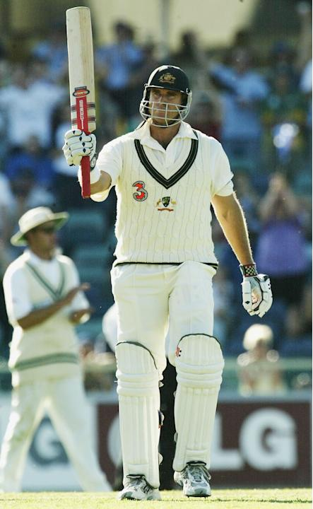 Matthew Hayden of Australia reaches 100