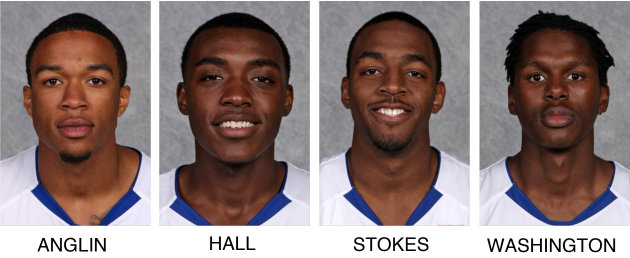 These undated images provided by Hofstra Athletics Communications show, from left, Hofstra University basketball players Dallas Anglin,  Jimmy Hall, Shaquille Stokes and Kentrell Washington. The playe