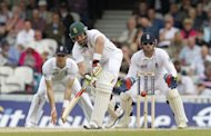 Jacques Kallis of South Africa hits a shot watched by England's wicketkeeper Matt Prior (R) during day three of the first international Test cricket match between England and South Africa at the Oval in London. South Africa were 403 for two at the close, a lead of 18 runs with eight first innings wickets standing