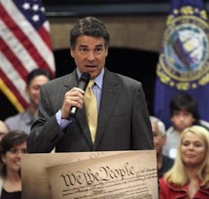 Republican presidential candidate, Texas Gov. Rick Perry, speaks during a 2012 presidential campaign event Saturday, Oct. 1, 2011, in Hampton, N.H. (AP Photo/Jim Cole)