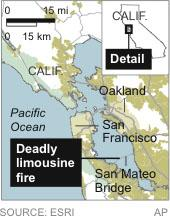 Bride, 4 others die in limo fire on Calif. bridge