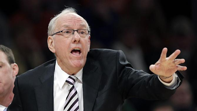 Syracuse head coach JIm Boeheim reacts to a call during the first half of an NCAA college basketball championship game against Louisville at the Big East Conference tournament Saturday, March 16, 2013, in New York. (AP Photo/Frank Franklin II)