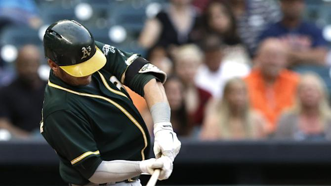 Donaldson leads A's past Astros 10-1