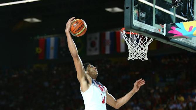 All New Zealand could do is watch as Anthony Davis carved up another Team USA victim. (Getty Images)