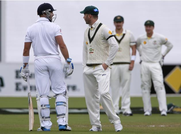 Australia's captain Clarke argues with England's Prior during the fifth day's play in the second Ashes cricket test at the Adelaide Oval