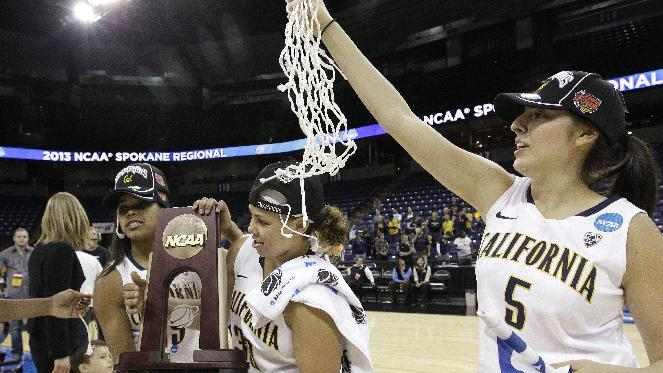 California's Avigiel Cohen (5) holds the net as teammates Brittany Boyd, left, and Mikayla Lyles hold the trophy after the team beat Georgia in overtime in a regional final in the NCAA women's college basketball tournament, Monday, April 1, 2013, in Spokane, Wash. Cal won 65-62. (AP Photo/Elaine Thompson)