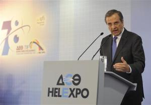 Greece's PM Samaras delivers a speech at the annual International Trade Fair of Thessaloniki