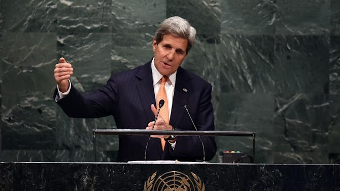 US Secretary of State John Kerry at the United Nations General Assemby, April 27, 2015 in New York